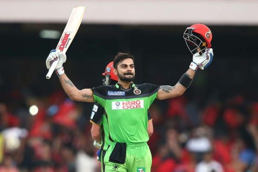 Virat Kohli celebrating his third century in IPL