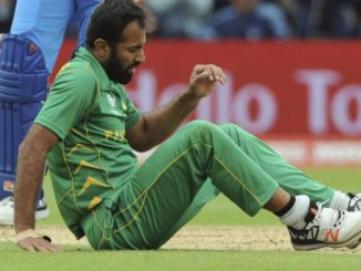 Wahab Riaz was injured while bowling during the match against India