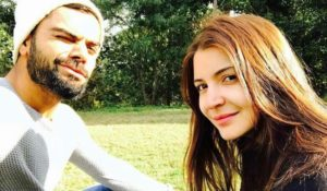 Virat Kohli and Anushka Sharma in a garden