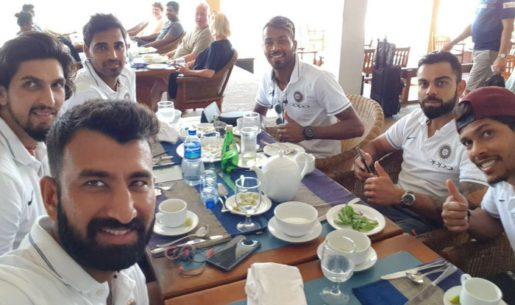 Team India during lunch in Sri Lanka